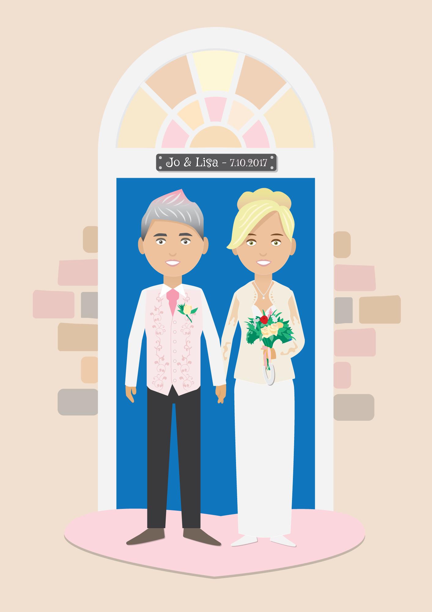 Jo & Lisa: Cartoon Wedding Portrait