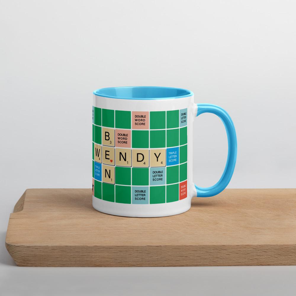 Scrabble Mug Green BG Light Blue