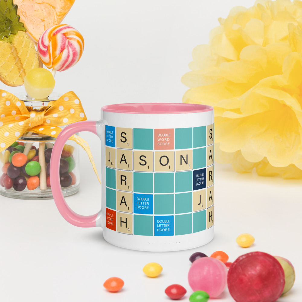 Scrabble Mug Teal BG Pink