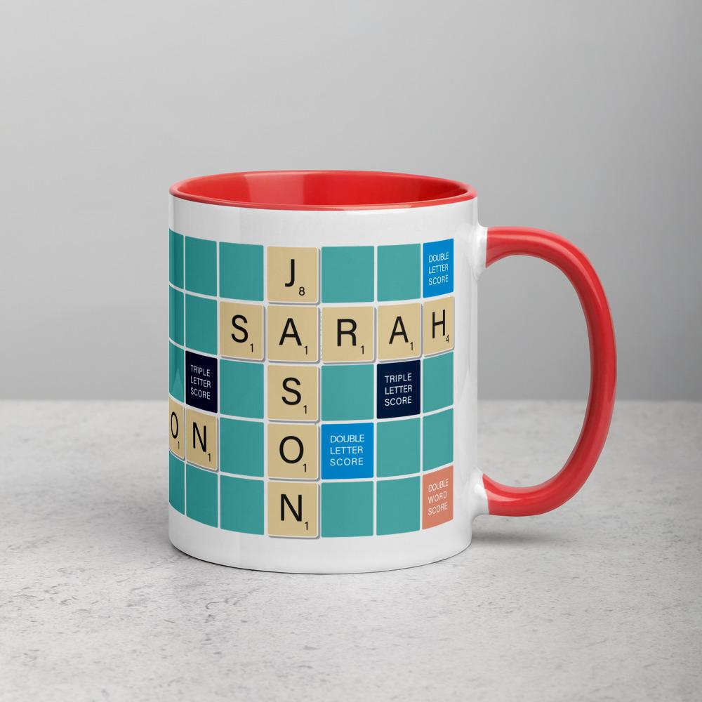 Scrabble Mug Teal BG Red