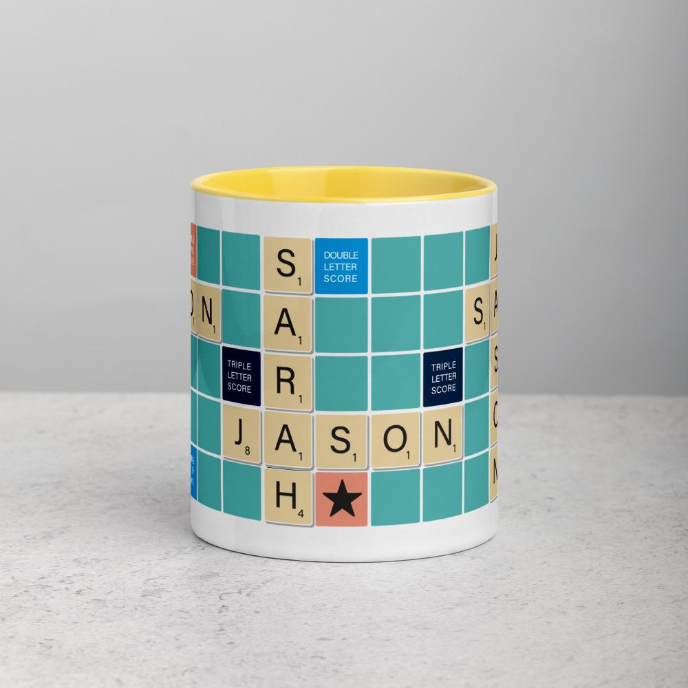 Scrabble Mug Teal BG Yellow
