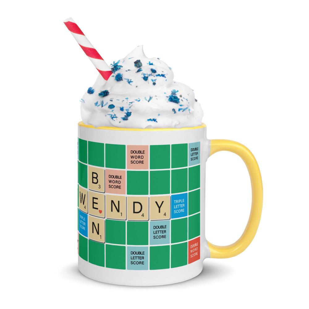 Scrabble Mug Green BG Yellow